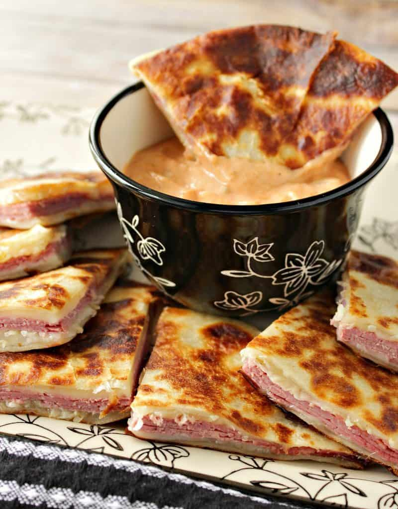 Corned Beef Reuben Quesadillas with Swiss Cheese