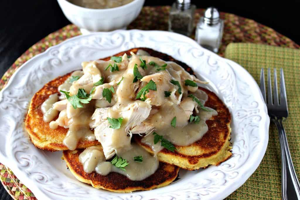 Chicken & Corn Cakes with Maple Chile Gravy