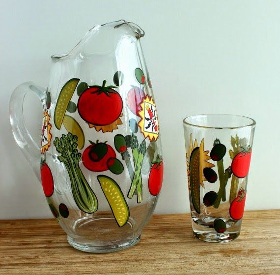 Bloody Mary Hand Painted Pitcher and Glass