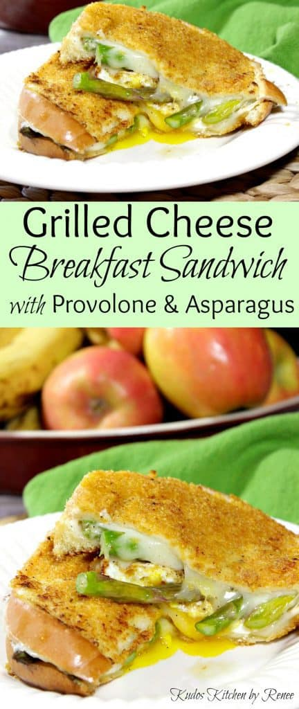 Vertical title text collage images of grilled cheese breakfast sandwich.