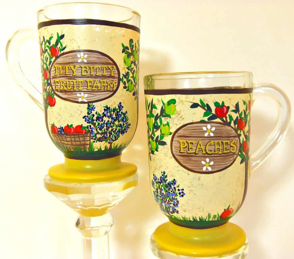 Hand Painted Fruit Farm Coffee Mugs