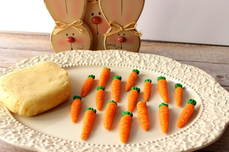Homemade marzipan candy carrots