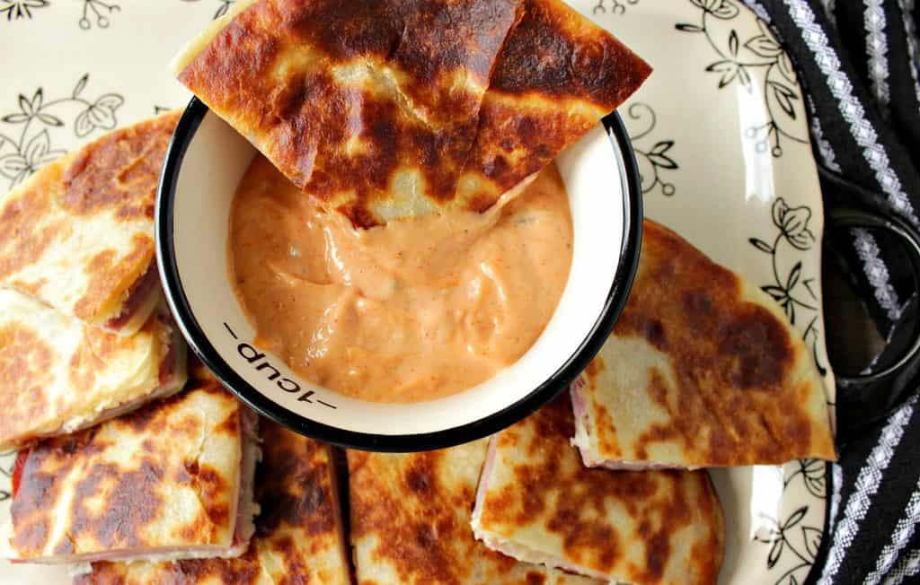 Corned Beef & Swiss Cheese Reuben Quesadillas with Creamy 1000 Islands Dipping Sauce
