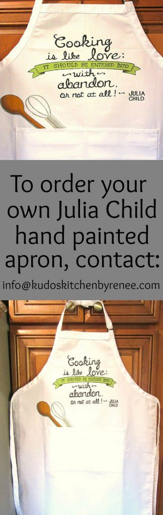 Julia Child quote hand painted apron