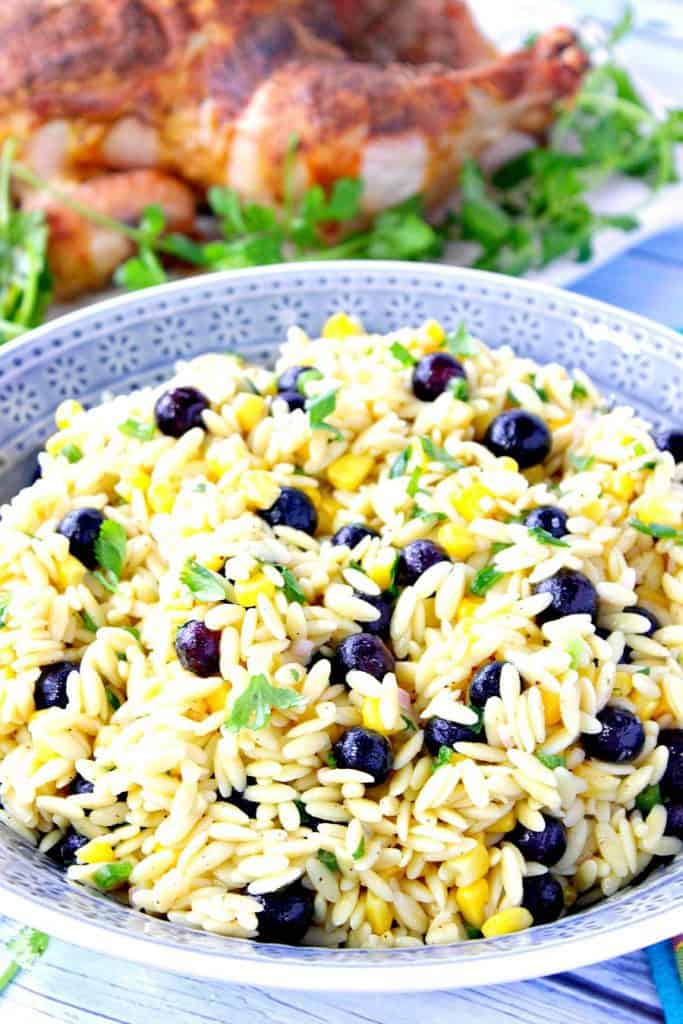 Chilled Orzo Pasta Salad with Sweet Corn and Blueberries