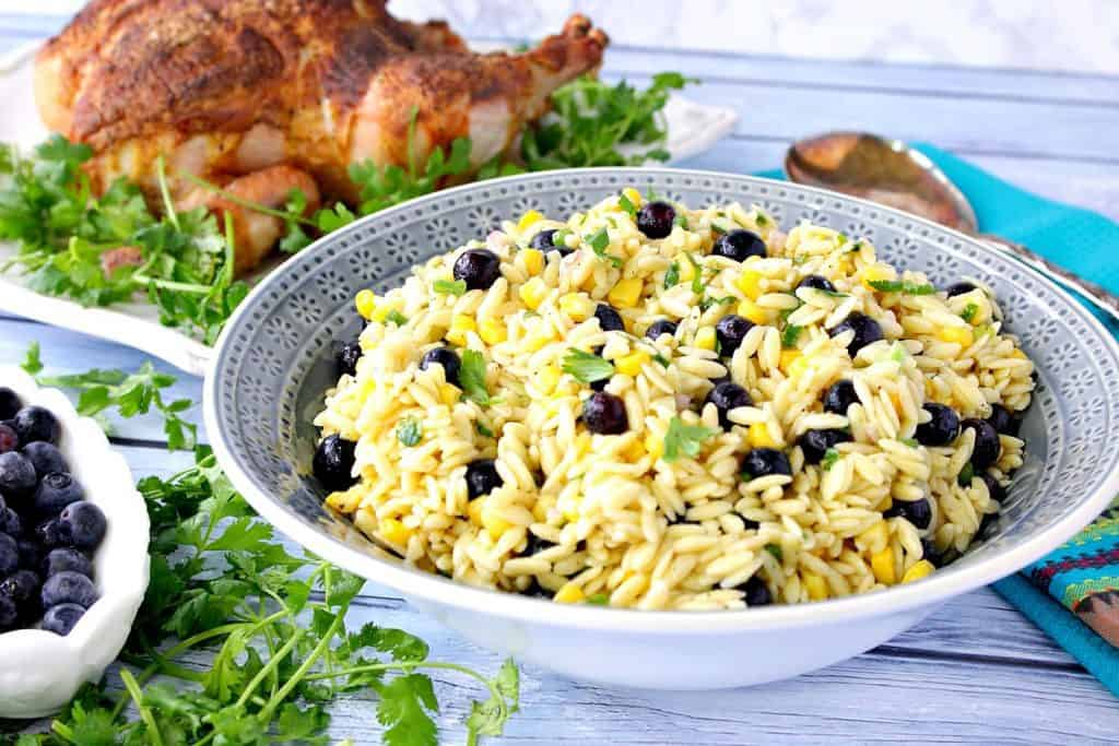 Chilled Orzo Pasta Salad with Corn and Blueberries