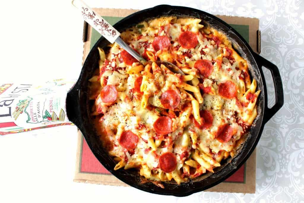 Overhead picture of Pepperoni Pizza Macaroni and Cheese in a cast iron skillet.