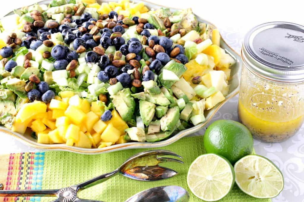 Avocado Mango Pineapple Blueberry Salad with Pistachios