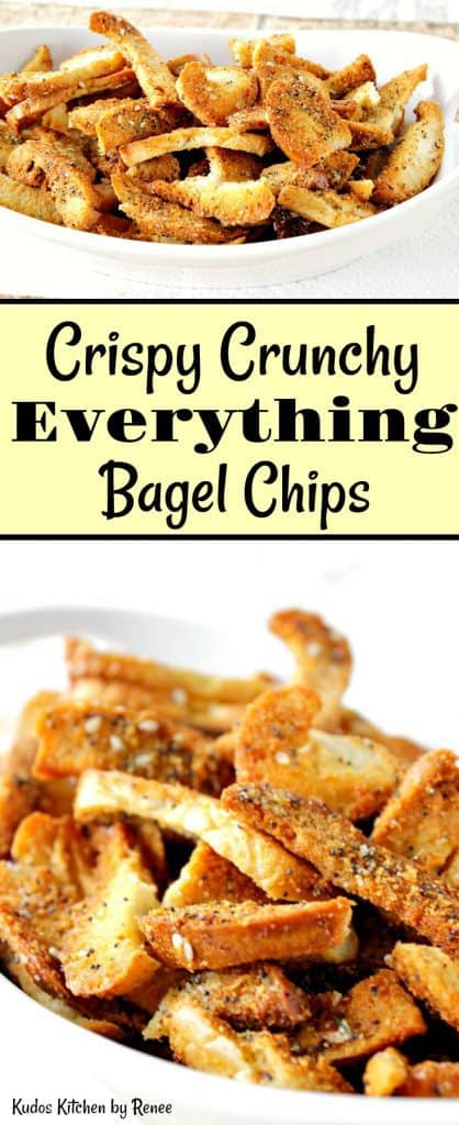 Vertical title text collage images of everything bagel chips.