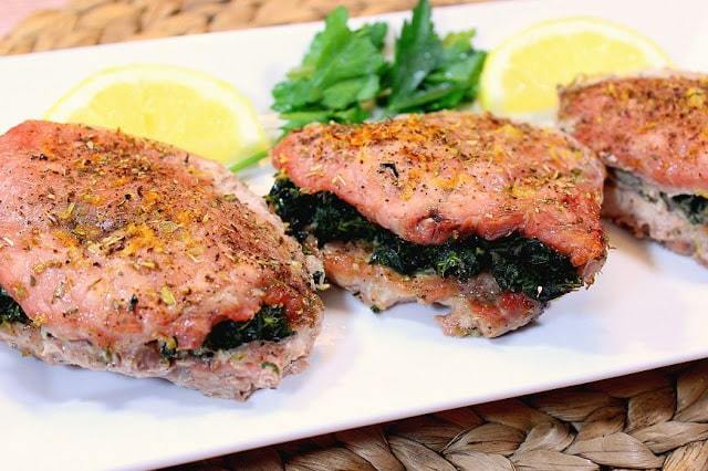 Greek Spinach and Feta Stuffed Pork Chops