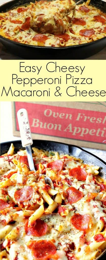Pepperoni Pizza Macaroni and Cheese long collage title image.