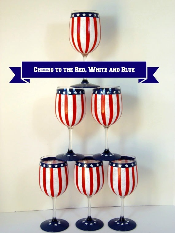 Red, White & Blue Hand Painted Wine Glasses