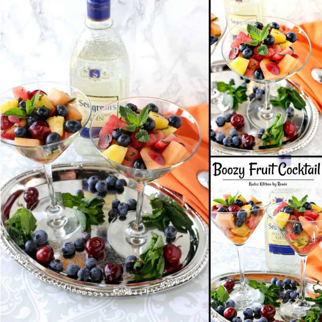 Boozy Fruit Cocktail with Gin, Mint, Watermelon, Pineapple, Cherries & Blueberries