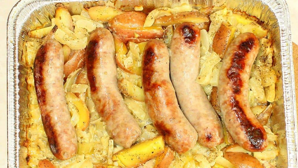 Grilled Italian Sausages over cooked potatoes and fennel.
