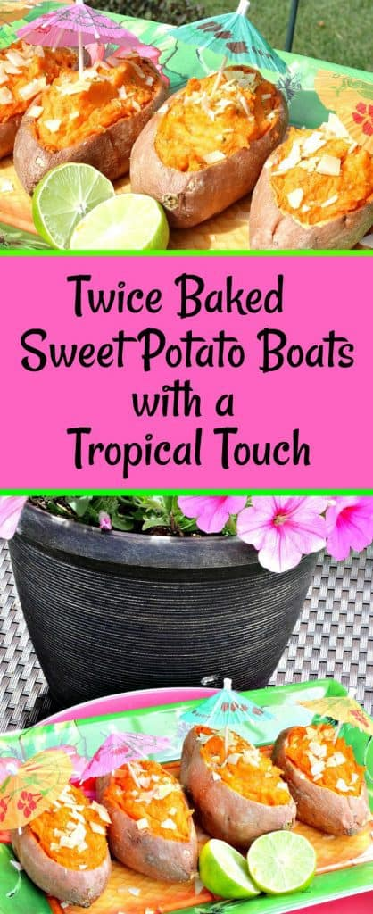 Title text vertical photo collage of tropical sweet potatoes