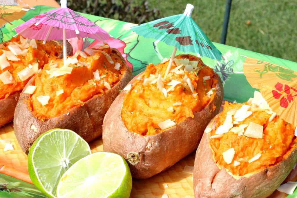 Twice Baked Sweet Potato Boats with Coconut and Lime