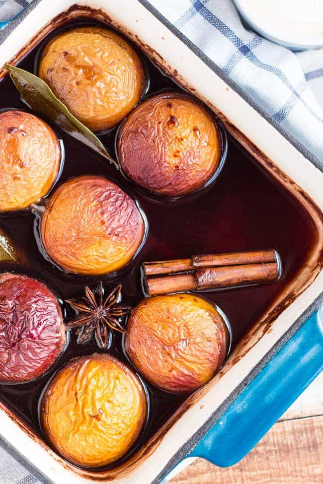 Wine Poached Nectarines