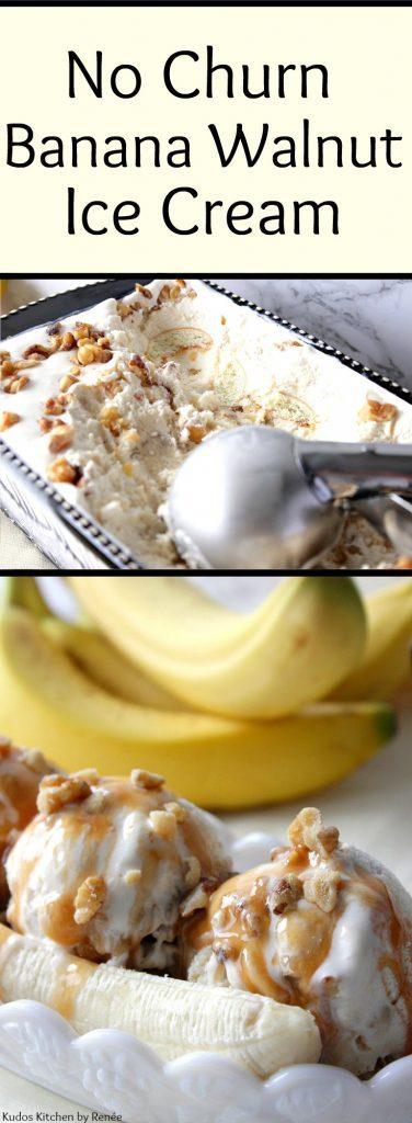 Photo collage of banana walnut ice cream