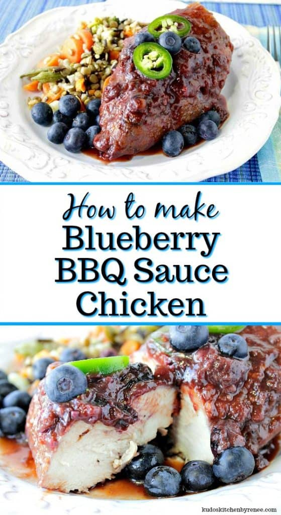 Blueberry BBQ Sauce Chicken title text image collage