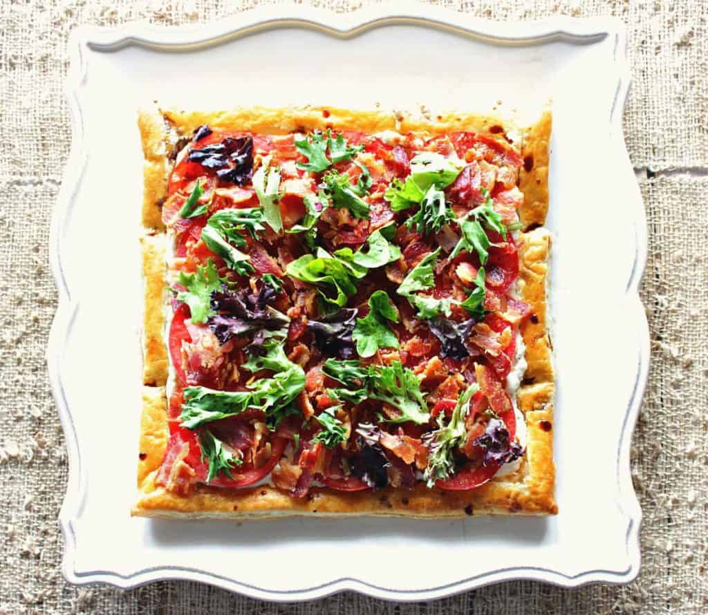 Square BLT Puff Pastry Tart Overhead image