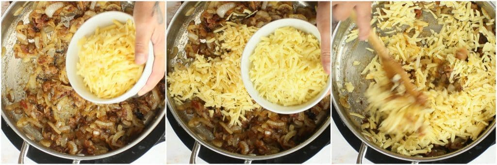 Adding grated cheese to a Bacon Caramelized Onion Cheese Dip