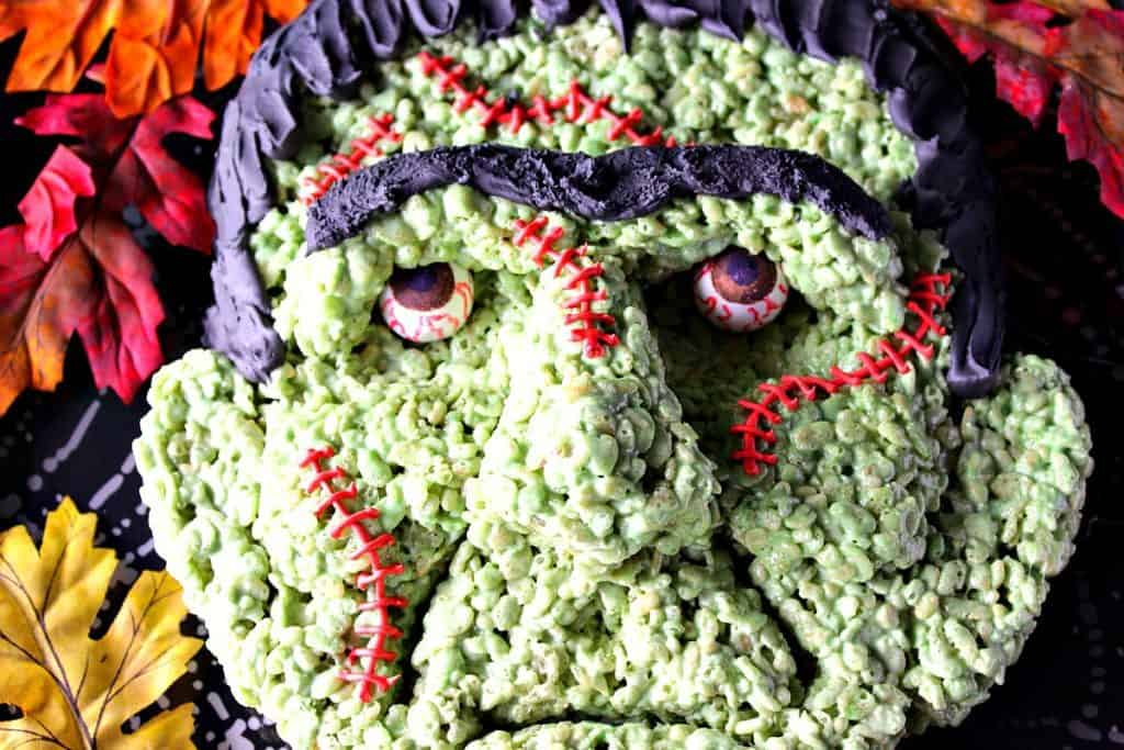 Freaky Frankenstein Rice Cereal Halloween Treat | Kudos Kitchen by Renee