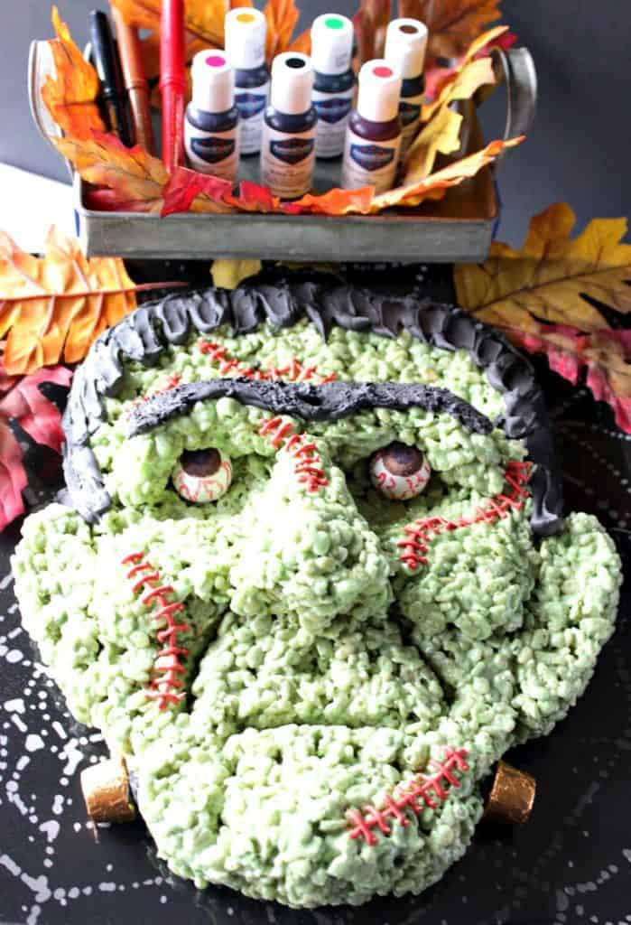 Frankenstein Rice Cereal Halloween Treat Featuring AmeriColor food coloring products. - Kudos Kitchen by Renee
