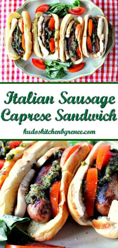 Vertical title text collage image of Caprese sausage sandwiches