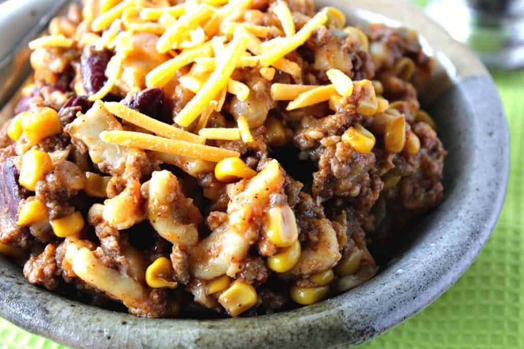 Hearty Slow Cooker Chili Mac close-up image | Kudos Kitchen by Renee