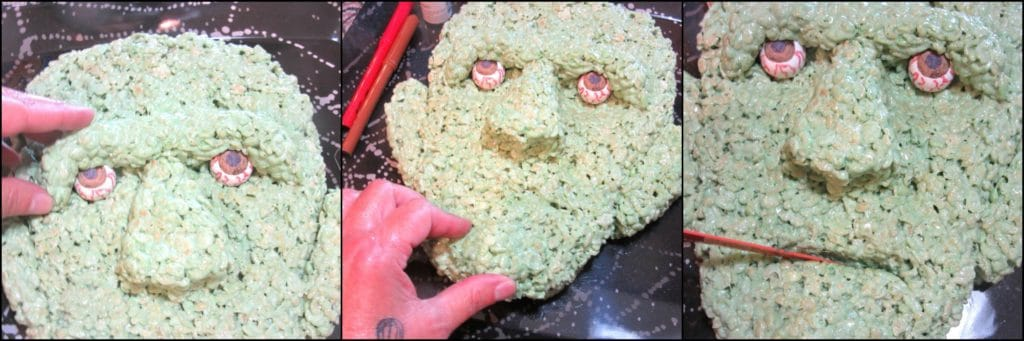 How to make Frankenstein Rice Cereal Halloween Treat with Gumball Eyes | Kudos Kitchen by Renee