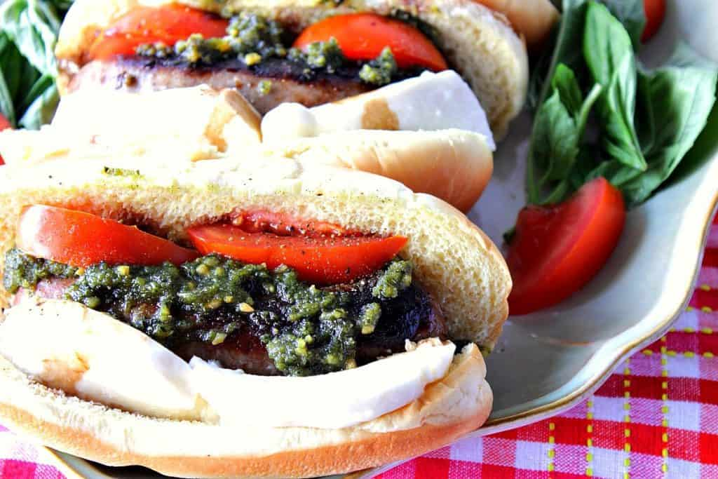 Italian Sausage Caprese Sandwich with Basil, Tomato and Mozzarella