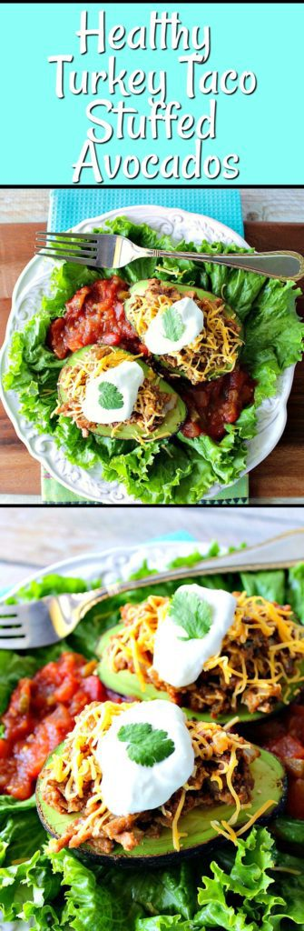 Vertical title text photo collage of turkey taco stuffed avocados on lettuce with salsa.