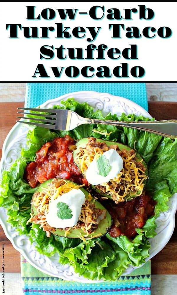 title text image of turkey taco stuffed avocados on a white plate with lettuce and salsa.