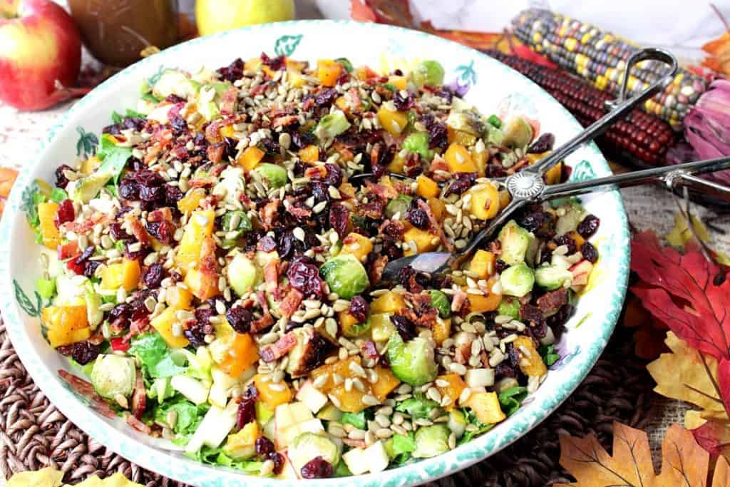 Chopped Fall Fruit & Vegetable Salad with Bacon and Cranberries - kudoskitchenbyrenee.com