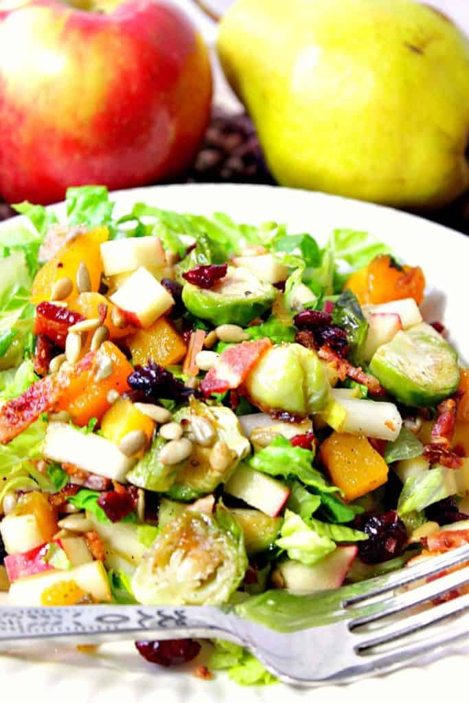 Closeup vertical photo of Thanksgiving chopped salad with bacon, Brussels sprouts, butternut squash and sunflower seeds.