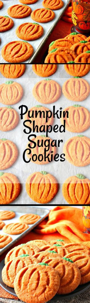 Long vertical collage image of pumpkin sugar cookies.