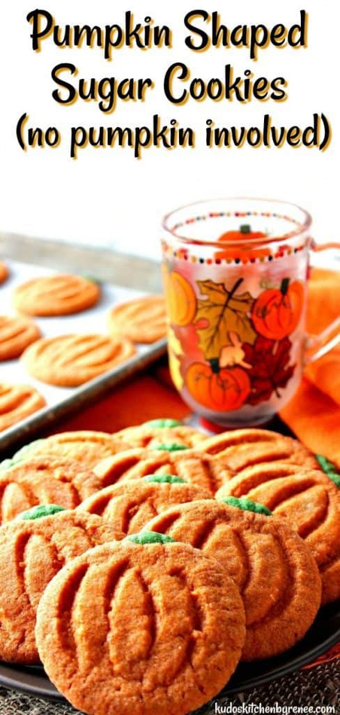 Title text vertical image of pumpkin-free sugar cookies with a painted pumpkin and leave coffee mug in the background.