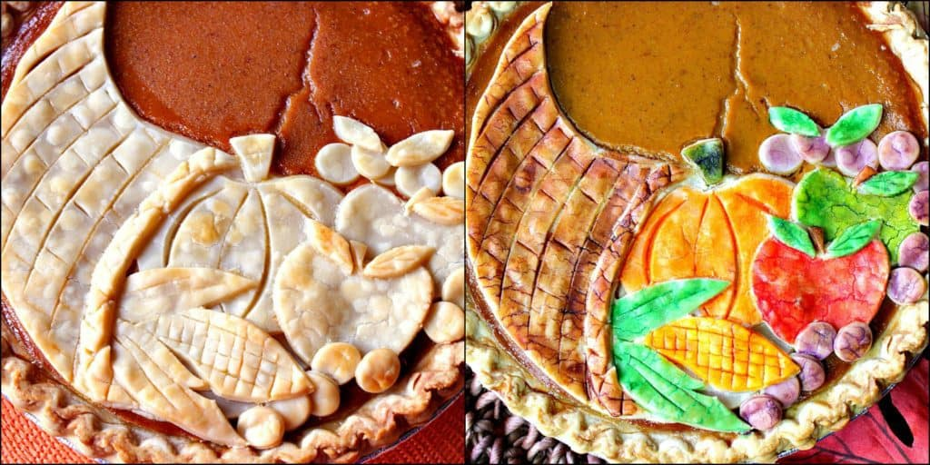 Side by side collage image of cornucopia pie, one with painted crust and one without.