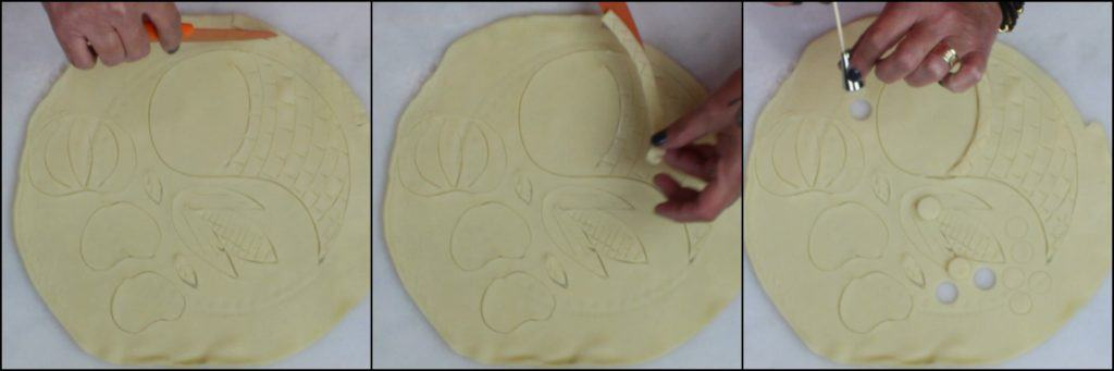 Photo tutorial for making a painting a cornucopia pie for Thanksgiving.