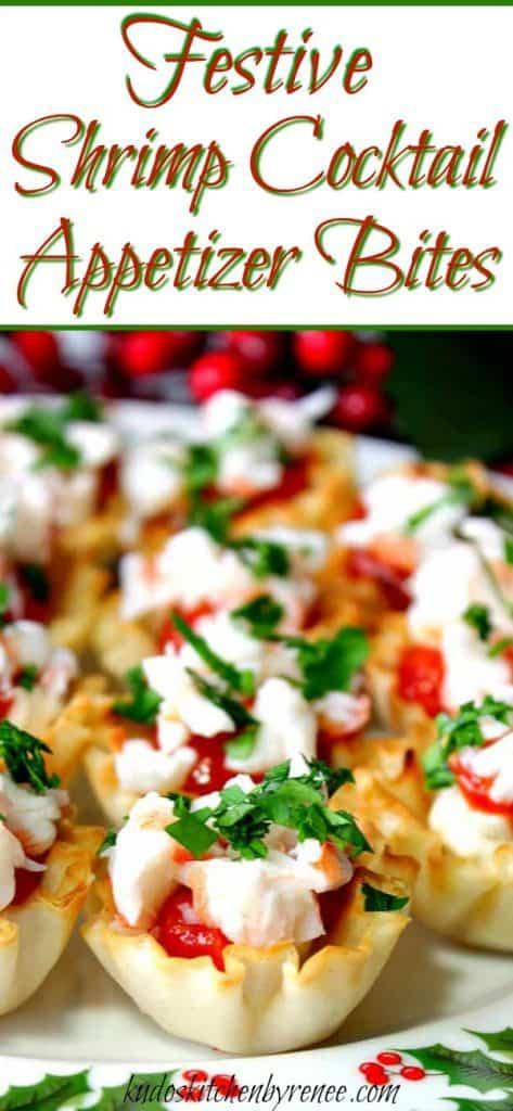 Vertical title text image of a closeup image of Shrimp Cocktail Appetizer Bites
