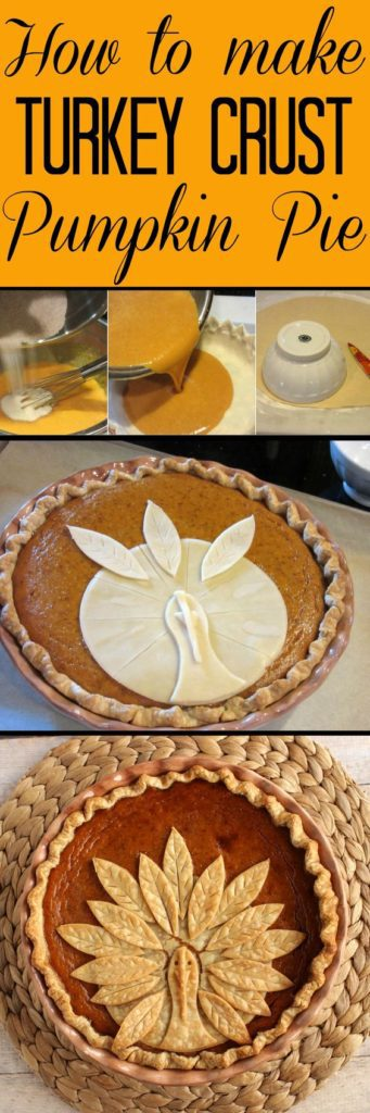 Vertical title text collage image for turkey crust pumpkin pie.