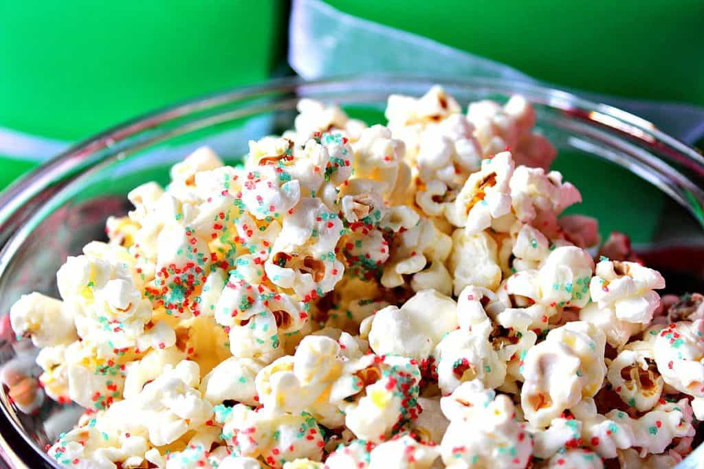 Easy Delicious White Chocolate Christmas Popcorn for Gift Giving | Kudos Kitchen by Renee