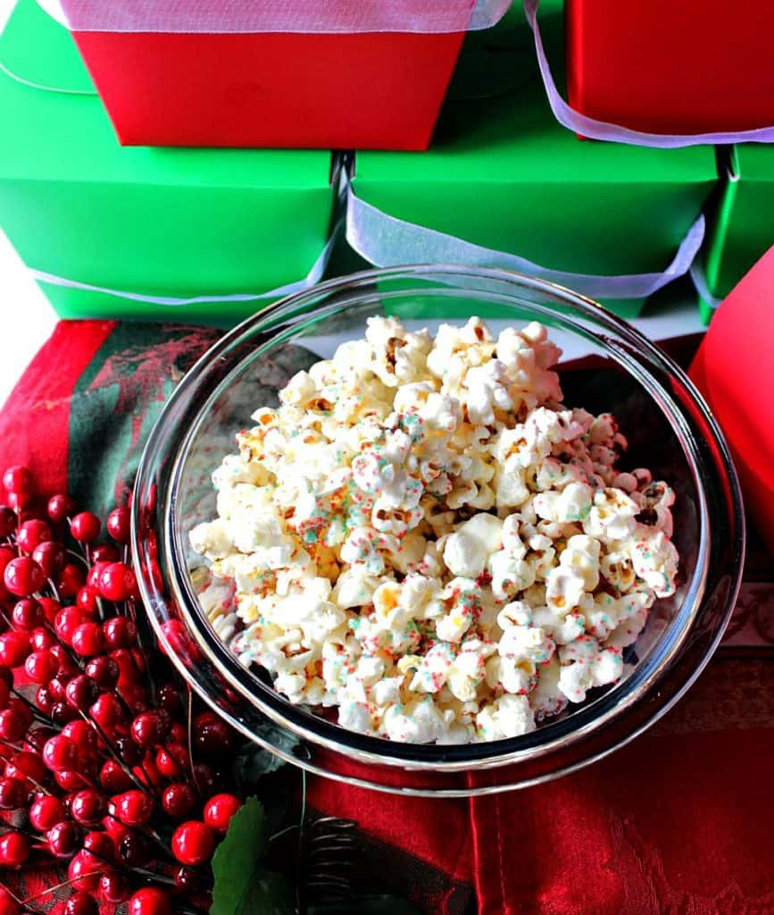 Easy Delicious White Chocolate Christmas Popcorn | Kudos Kitchen by Renee