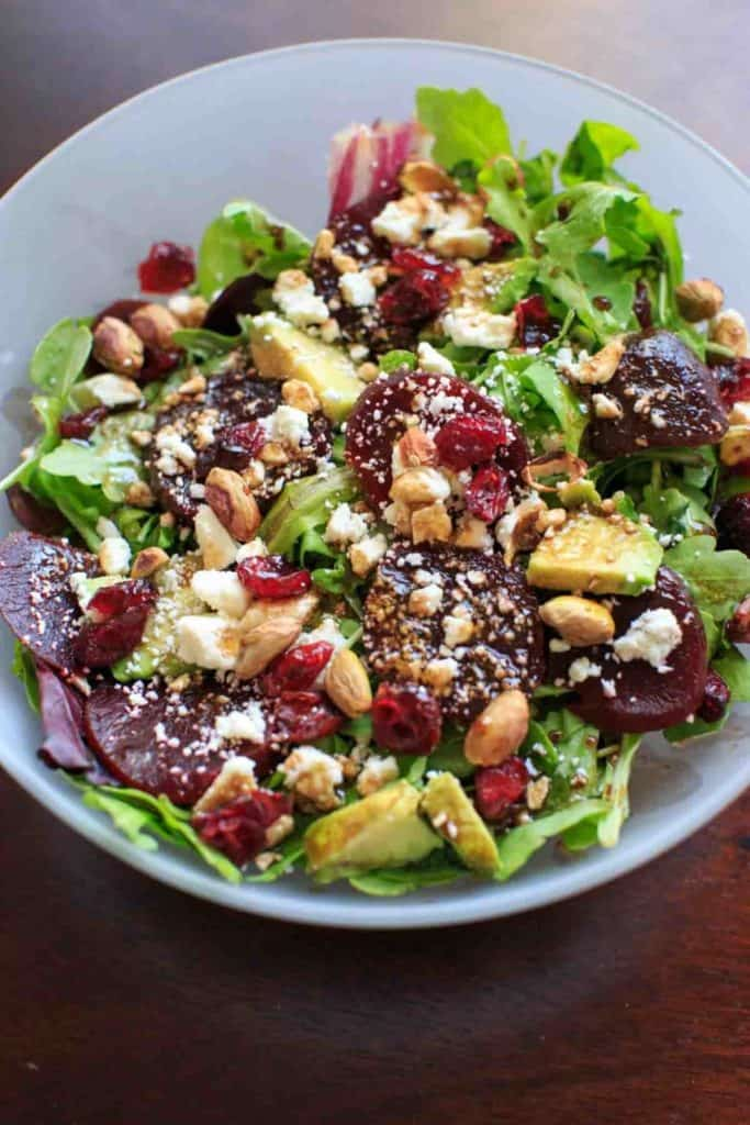 Beets and greens salad for healthy salad recipe roundup.