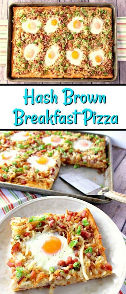 Vertical title text image collage of a hash brown breakfast pizza.