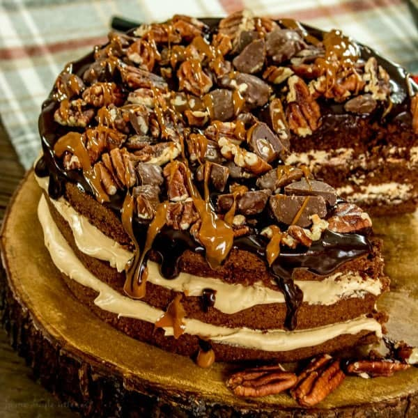 A chocolate cake with nuts and caramel for chocolate dessert recipe roundup for valentines day