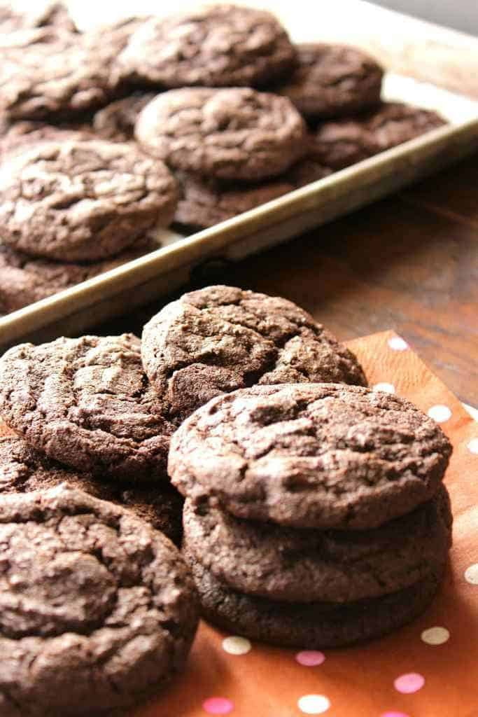 Closeup of chocolate cookies on a plate for chocolate dessert recipes collection
