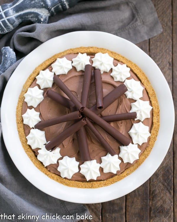 An over head photo of a chocolate pie for Valentine's day chocolate dessert recipes roundup