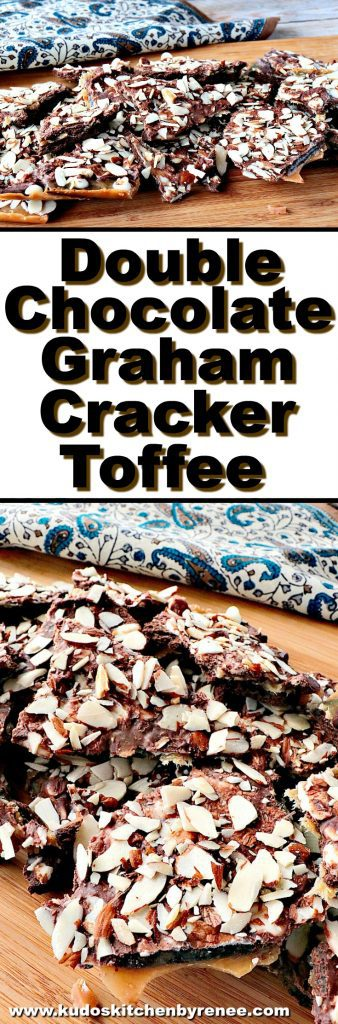 Photo collage image of double chocolate graham cracker toffee with title text overlay graphics.