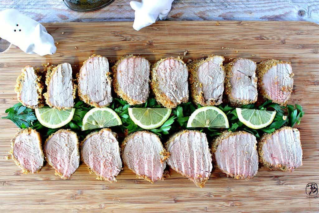Honey Dijon Pork Tenderloin with Breadcrumbs & Lemon - www.kudoskitchenbyrenee.com